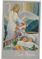 CARD BERTIGLIA NON FIRMATA BUON NATALE ANGELO GIOCATTOLI BAMBOLE PALLA BIMBI PIEGHE COME DA SCANNER   -FP-V-2-0882-29415 - Bertiglia, A.