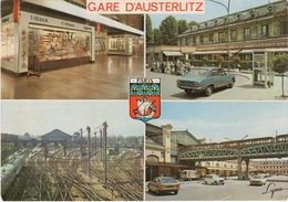 CPA 75 PARIS Gare D'Austerlitz Multivues ( Bureau De Tabac Automobile Peugeot Citroën Métro Aérien, ...) - Stations, Underground