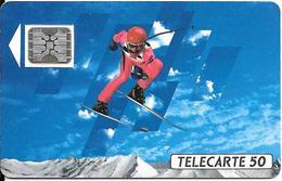 CARTE-PUBLIC-F132B.520-50U-SC5 On-Trou 6-12/90-SKIEUR 1-5 Ge-22577-UTILISEE- TBE - 1990