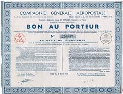 Titre Ancien - Compagnie Générale Aéropostale - Titre De 1935 - Aviation