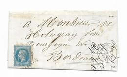 REF: 4115 - LAC 1869 De Langon Pour Bordeaux Napoleon N°29A - Marcophilie (Lettres)