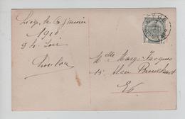 REF487/ TP 81 Armoiries  S/CP Johann Strauss C.Liège 7/1/1910 Agence 2 > E/V - Postmarks With Stars
