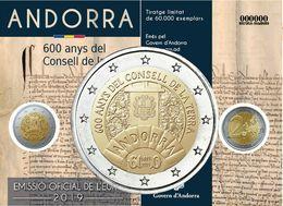 "Andorre 2019 : 2€ Commémorative ""600 Ans Conseil De La Terre"" En Coincard - Disponible En France - Andorra"
