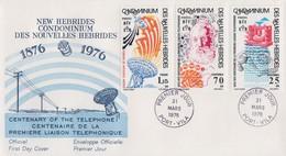 Enveloppe FDC  1er Jour   NOUVELLES  HEBRIDES   Graham  BELL   Centenaire   1ére  Liaison  Téléphonique  1976 - FDC