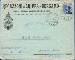 Italy 1918 Green Oval Bologna Posta Estera Censura Militare B Mark, Letter To Amsterdam, Bologna 1923 Mark? 2003.0710 - Guerre Mondiale (Première)