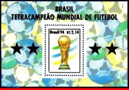 Ref. BR-2524 BRAZIL 1994 FOOTBALL SOCCER, WORLD CUP CHAMPION,, BRAZIL CHAMPION, MI# B96, S/S MNH 1V Sc# 2524 - Brasilien
