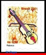 Ref. BR-2814 BRAZIL 2001 MUSIC, MUSIC INSTRUMENTS,, REBEC, SELF-ADHESIVE MNH 1V Sc# 2814 - Musica