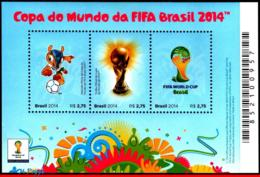 Ref. BR-3268 BRAZIL 2014 FOOTBALL SOCCER, WORLD CUP CHAMPIONSHIP,, SYMBOLS OF CUP, S/S MNH 3V Sc# 3268 - Brésil