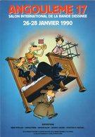 SALON INTERNATIONAL De La Bande Dessinée 1990. René Pétillon CACHETS AU DOS DE LA CARTE - Comicfiguren