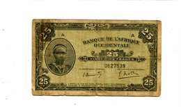 FRENCH WEST AFRICA 25 FRANCS 1942 FINE 1.25 - Central African Republic