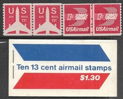 USA   1971-3   Sc#C79a, C82-3  Airmail Booklet Of 10 Plus 11c & 13c Pairs MNH   Face $1.78 - Luftpost