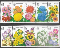 USA   1995-6   Sc#2997a & 3029a  32c Flowers Strips   MNH - United States
