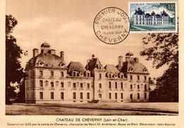 """"""" CHATEAU DE CHEVERNY """" Sur Carte Maximum De 1954. Editions Bourgogne. N° YT 980. Parfait état. - 1950-59"""
