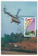 CHINE - Carte Maximum - Transport D'eau Par Hélicoptère - 1986 - Hélicoptères