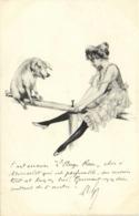 Illustrateur Jeune Femme En Tenue Legère  Jouant à La Balancoire Avec Un Cochon RV - Femmes