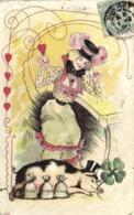 Illustrateur Jeune Femme Revant à La Fortune Devant Un Cochon Chapeau  Haut De Forme  Trefle Sacs D'Or Coeurs  RV - Women