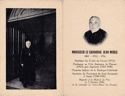 Faire-part De Décès - Mémento - Chanoine Jean Merle - Autun, Rimont, Le Creusot (71) - 7 Octobre 1956 - Décès