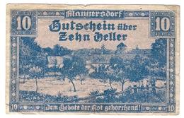 Österreich Austria Notgeld 10 HELLER FS577 MANNERSDORF /154M/ - Autriche