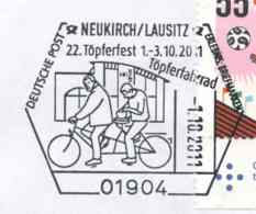 7280  Bicyclette, Tandem, Poterie: Oblit. Temp. D'Allemagne, 2011 -  Bicycle, Pottery: Sp. Cancel From Neukirch. Vélo - Radsport
