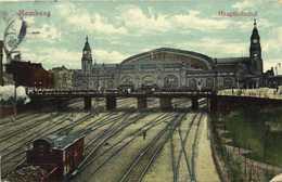 Hamburg Hauptbahnhof  Gare Colorisée RV Beau Timbre 10 Cachet Hamburg - Allemagne