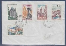 = Série Touristique 1971 Sur Enveloppe 1683 1684 1685 1686 1687 Condat Le Lardin 17.9.71 - Storia Postale