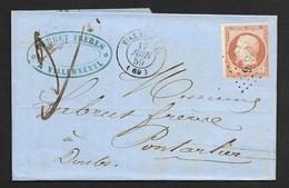 Haute Saone-Lettre De Villersexel Pour Pontarlier Doubs-Petit Chiffe 3636 Sur N°16 - 1849-1876: Klassieke Periode