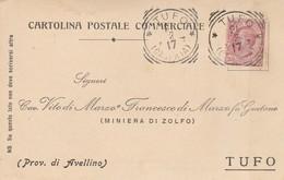 Tufo. 1917. Annullo Tondo Riquadrato TUFO (CASERTA), Su Cartolina Postale - 1900-44 Victor Emmanuel III