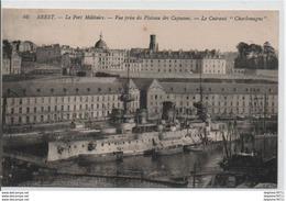 """BREST - Le Port Militaire - Vue Prise Du Plateau Des Capucins - Le Cuirassé """"Charlemagne"""" - Brest"""