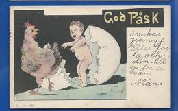 God PASK   Bébé Sortant D'un  Oeuf     Carte Suédoise      écrite En 1905 - Sweden
