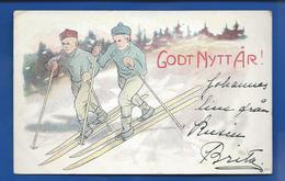 Godt Nytt Ar      Skieure      Carte Suédoise      écrite En 1905 - Schweden