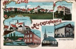 ! 1917 Lithokarte Gruss Aus Altenschönbach Bei Prichsenstadt, Brauerei Lindner, Schule, Kirche, Schloss, Bayern - Deutschland