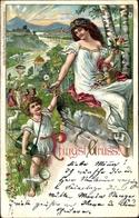 Lithographie Glückwunsch Pfingsten, Frau, Maibaum, Landschaftsidylle - Pentecôte