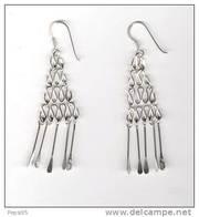 (réf Atri) - BOUCLES D'OREILLES En ARGENT - Forme Trapèze Avec 5 Pendants - Earrings