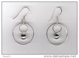 (réf Bou) - BOUCLES D'OREILLES En ARGENT Anneaux Imbriqués Et Sphère Centrale - Earrings