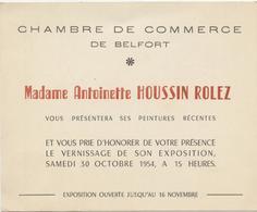 Belfort 1954, Invitation Exposition Peintures,vernissage, Antoinette Houssin Rolez - Programmes