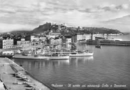 """09907 """"MESSINA - MILAZZO - IL PORTO COI PIROSCAFI EOLO E PANAREA""""  NAVI, ANIMATA. CART  SPED 1961 - Messina"""