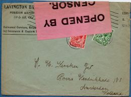 Great Britain - British Censor Label (large Pink) On London To Amsterdam Cover 1914 Nov - 2003.0718 - Storia Postale