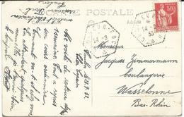 CARTE POSTALE 1933 AVEC CACHET HEXAGONAL CROISEUR FOCH - Scheepspost