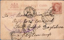 Boer War - British Censor Mark Diyatalawa Camp Ceylon On ¼ A. Brit India Stat Card By Sea Post Office & Aden - 2003.0719 - South Africa (...-1961)