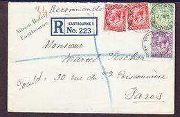 TIMBRE LETTRE ROYAUME UNI ANGLETERRE ALBION HOTEL EASTBONNE RECOMMANDE PARIS - 1902-1951 (Rois)