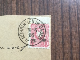 FL2810 Deutsches Reich 1886 Briefvorderseite Von Möhringen In Baden Zwischensteganhang - Germany