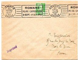DROME - Dépt N° 26 = ROMANS Sur ISERE 1950 = FLAMME RBV  ' FOIRE EXPOSITION ' - Maschinenstempel (Werbestempel)