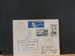 86/330  LETTRE FRANCE 1° VOL LIMA  1958 AIR FRANCE - Luchtpost