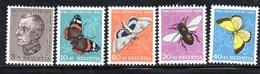 349/1500 - SVIZZERA 1950 , Unificato N. 502/506  ***  MNH  Pro Juventute - Papillons