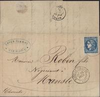 YT 46 B Emission De Bordeaux CAD Gare Vierzon (17) 3E 25 Fev (sans Millésime) Arrivée Mansle (17) 26 Fev 71 - 1849-1876: Classic Period