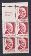 Australia: 1972   Famous Australians (Series 4)   SG 507a  7c   [Joseph Cook]   MNH Booklet Pane - 1966-79 Elizabeth II