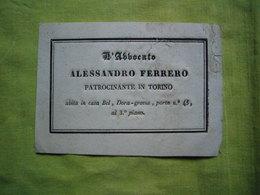 CDV 19 ème En Italien Alessandro Ferrero Patrocinante In Turin - Tarjetas De Visita