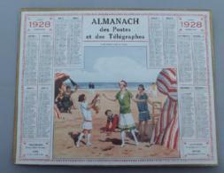 Calendrier 025, Almanach Des Postes Et Télégraphes 1928, Collin-Maillard Sur La Plage - Calendriers