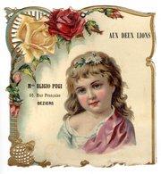 Grande Chromo Carton (!) Aux Deux Lions, Eligio Pugi, Béziers, Env.  21 X 19,5 Cm - Enfants