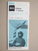 Timetable / Italia BEA Orario BOAC / British European Airways, 1968. - Servizi BEA, BOAC, QUANTAS, ALITALIA, AIR CANADA, - Europe